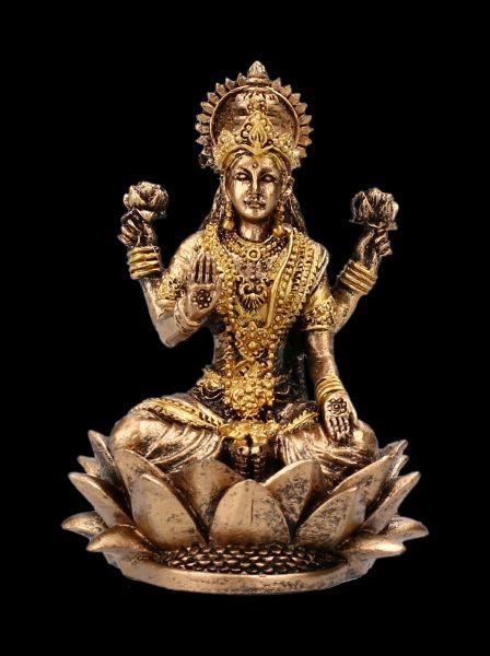 Kleine Lakshmi Figur sitzend auf Lotus