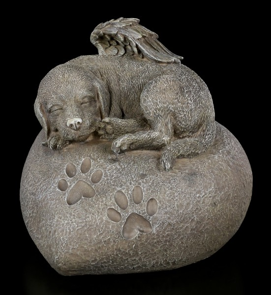Animal Urn - Dog Angel on Heart in Stonelook