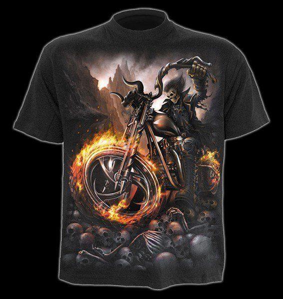 T-Shirt - Skelett auf Motorrad - Wheels of Fire