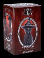 Okkulte Katzenfigur mit Hexenhut - Purrah