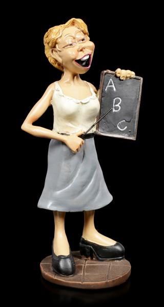 Funny Job Figurine - Female Teacher holds Blackboard