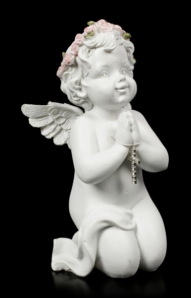 White Angel Figurine Praying with Cross