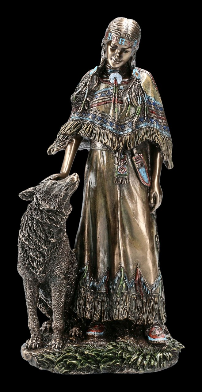 Female Indian Figurine with Wolf