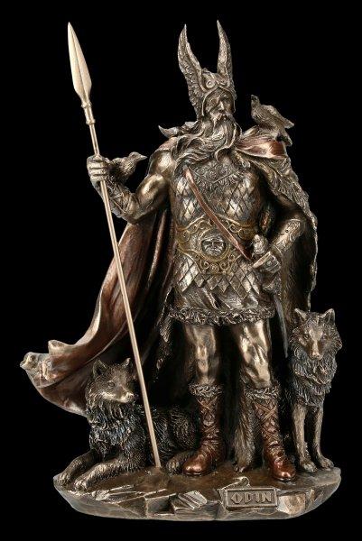 Odin Figur mit Wölfen