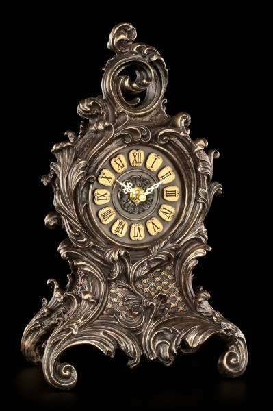 Baroque Table Clock with Ferns