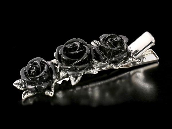 Alchemy Gothic Haarspange - Wild Black Rose