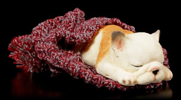 Hunde Figur schlafend in Bommelmütze
