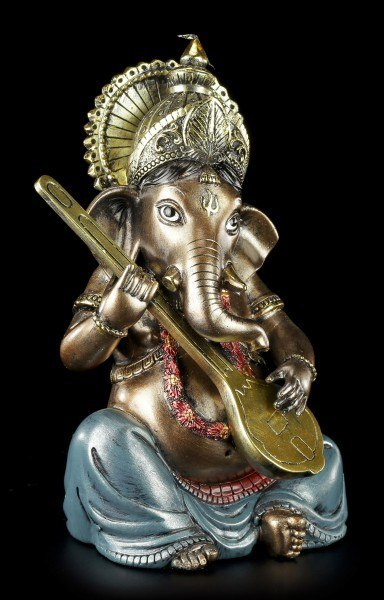Small Ganesha Figurine playing Sitar