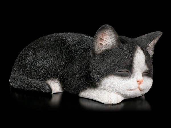 Baby Cat Figurine - Sleeping black & white