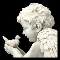 Garden Figurine Angel - Cherub with Dove