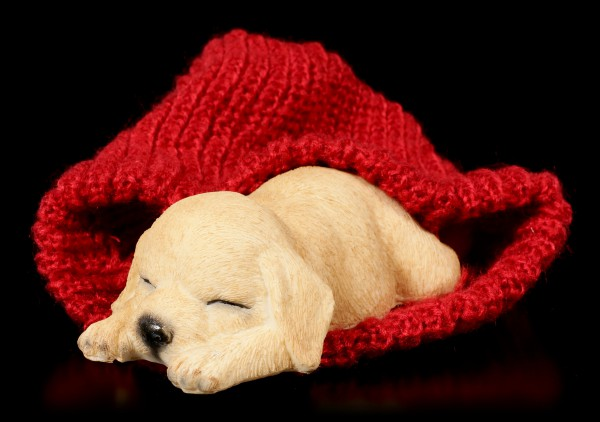 Dog Figurine asleep wrapped in red bobble Cap