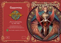 Fantasy Birthday Card with Dragon - Copperwing