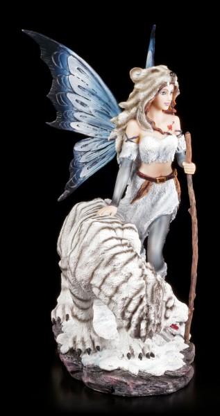 Elfen Figur - Alba mit weißem Tiger