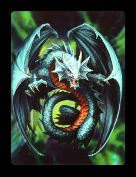 3D Postcard - Jade Emerald Dragon by Anne Stokes