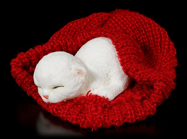 Cat Figurine asleep in red bobble Cap
