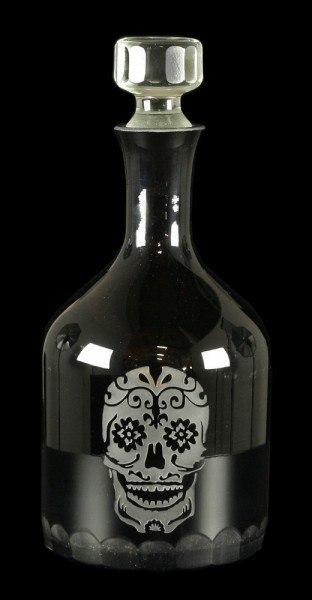 Dekanter Flasche mit Totenkopf Gravur - Sugar Skull