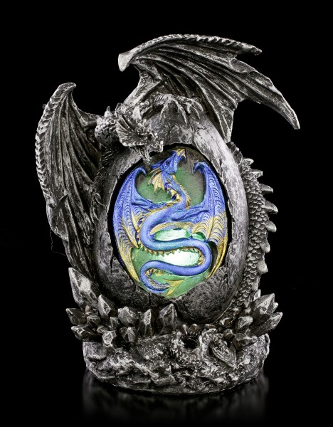 Dragon Figurine - Sehab on Egg with LED