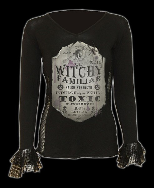 Damen Netz Langarmshirt - Witchy Familiar
