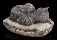 Animal Urn - Cat Angel with Gravure Plate Stonelook