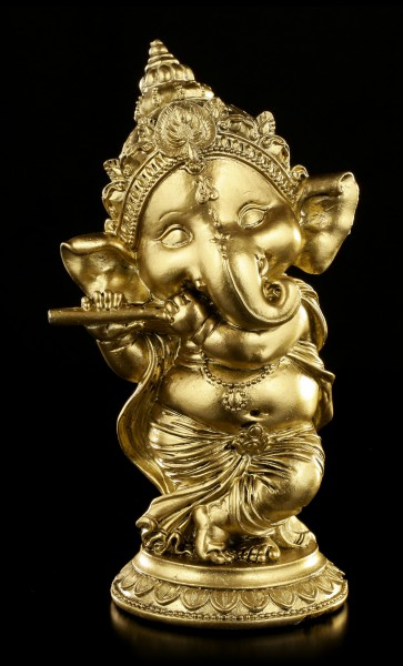 Ganesha Figurine with Flute - gold-colored