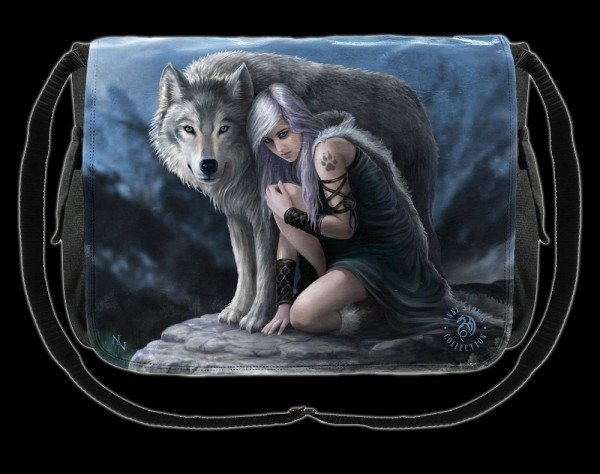 Fantasy Messenger Bag with Wolf - Protector