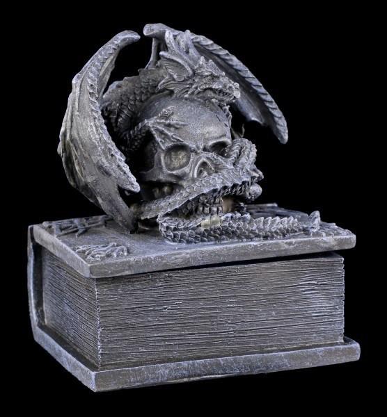 Kleine Schatulle - Drachen auf Totenbuch - Schwarz