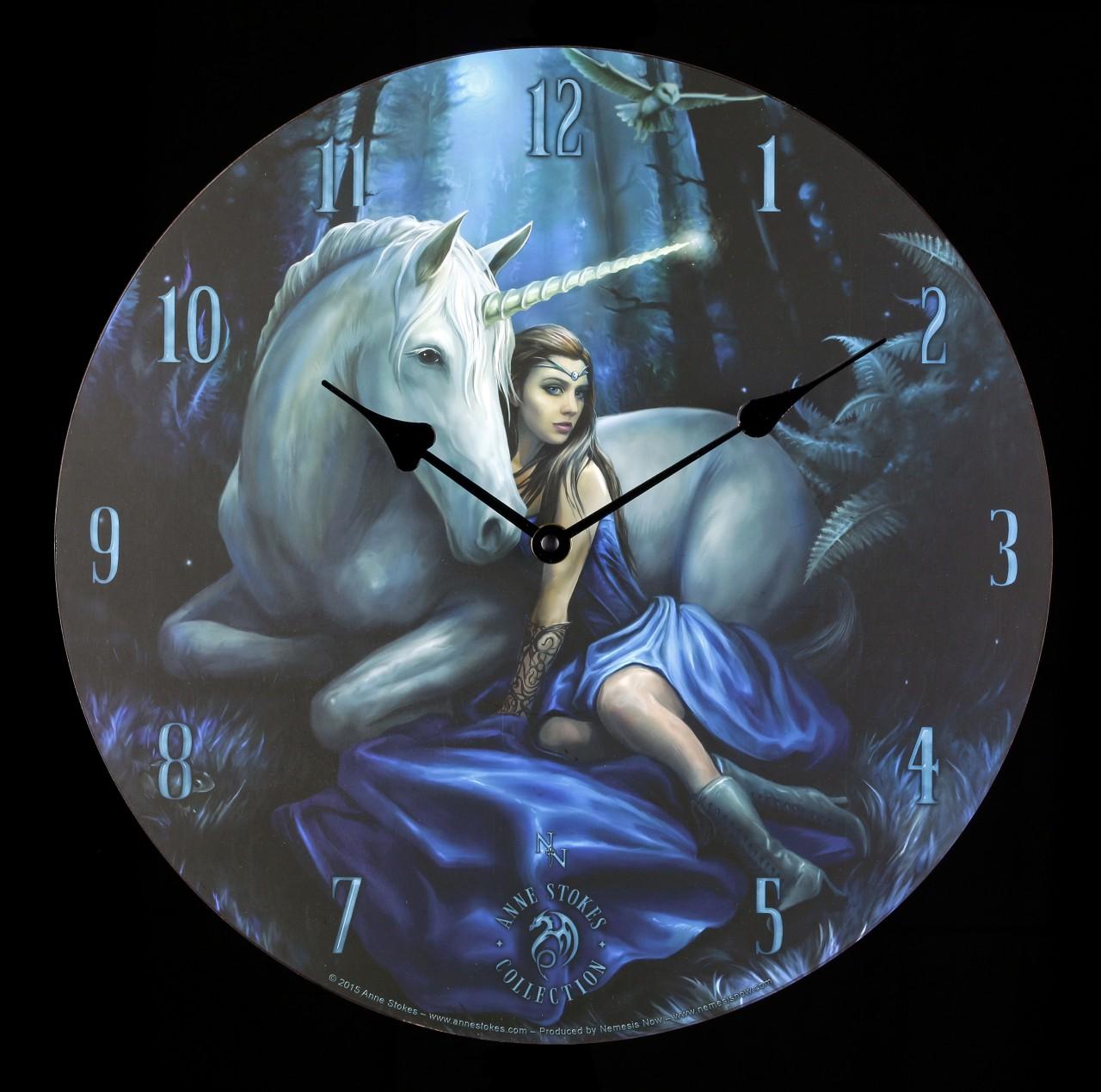 Wanduhr mit Einhorn - Blue Moon by Anne Stokes