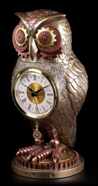 Steampunk Figurine - Owl with Clock