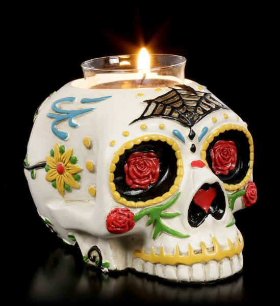 Totenkopf Teelichthalter - Day of the Dead