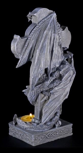 Teelichthalter - Drachen klettert auf Kreuz - Links