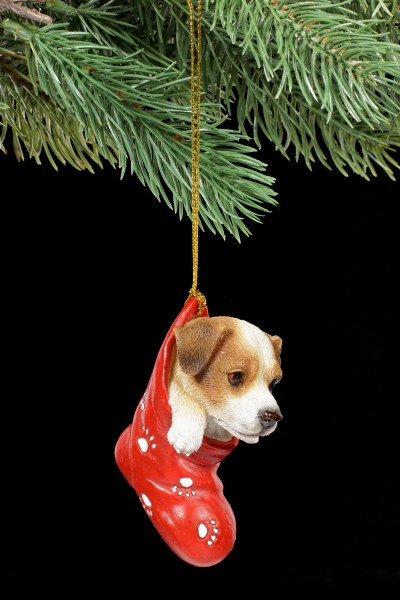 Christmas Tree Decoration Dog - Jack Russel in Stocking