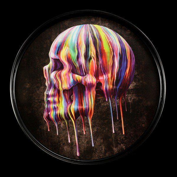 Rundes Tablett mit Totenkopf - Dripping Skull