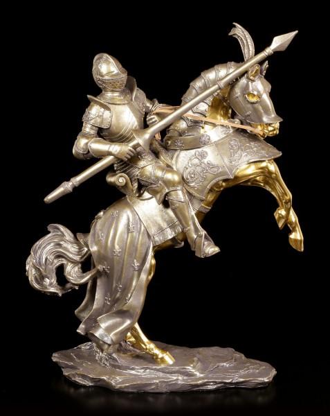 Ritter Figur - Reiter mit Lanze und goldenem Pferd