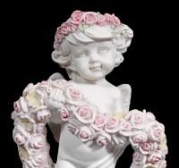 White Cherub Figurine in Roseheart