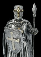 Templar Knight Figurine with Shield and Spear