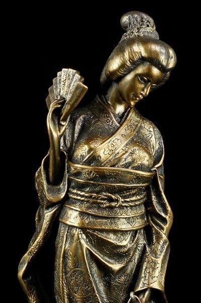 Geisha Figur - Mizumi mit Fächer