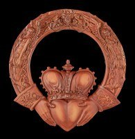 Wall Plaque - Celtic Claddagh Ring - Rust colored