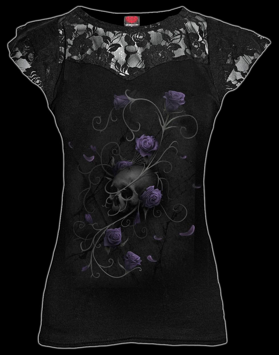 Entwined Skull - Gothic Rose - Women Lace Shirt