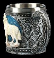 Fantasy Tankard - Howling Lone Wolf white