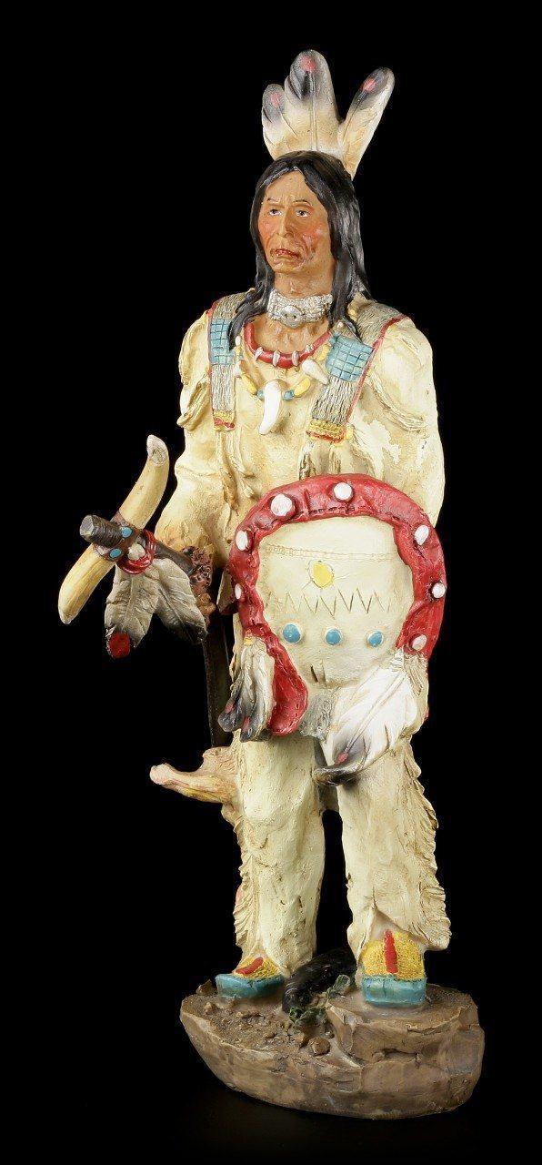 Indianer Figur - Mit Tomahawk und Schild