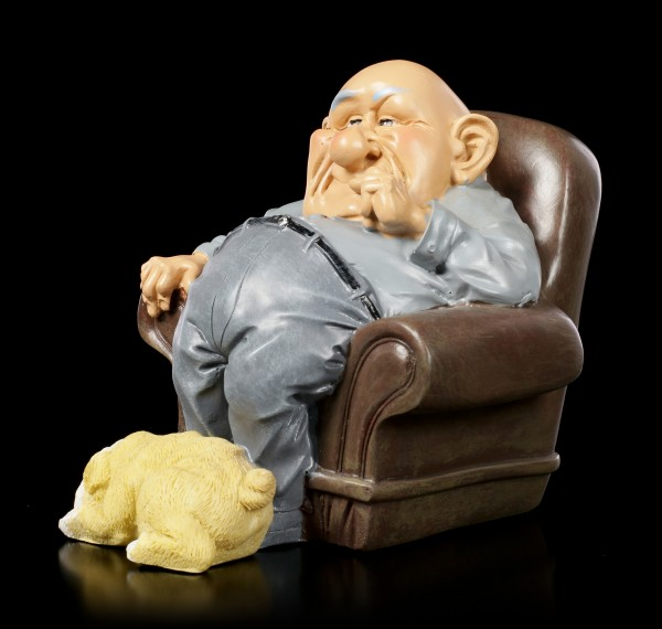 Funny Family Figurine - Grandpa in Armchair with Dog