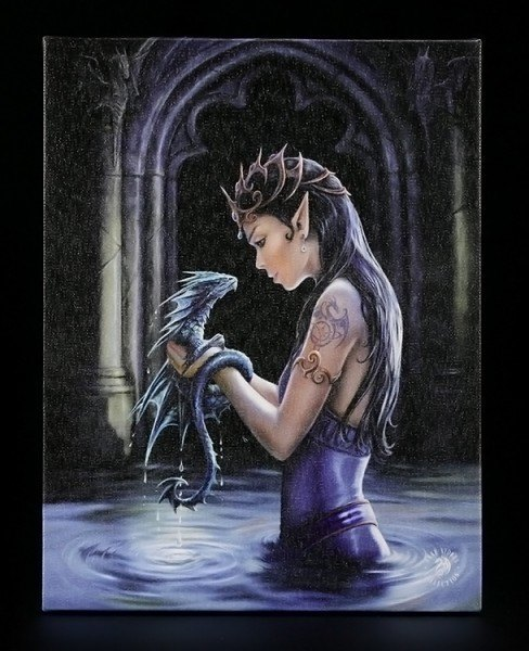 Small Canvas - Water Dragon by Anne Stokes