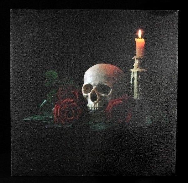 Leinwand LED - Totenkopf mit Rosen