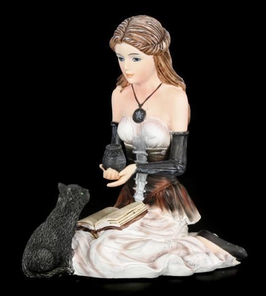 Hexen Figur - Jasmina mit Katze und Buch