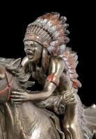 Indianer Figur - Krieger auf Pferd mit Speer