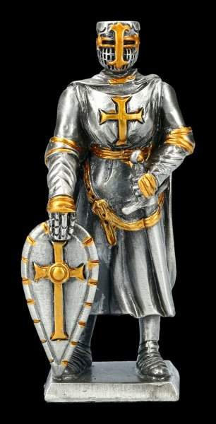 Pewter Knight Figurine with Shield with Cross