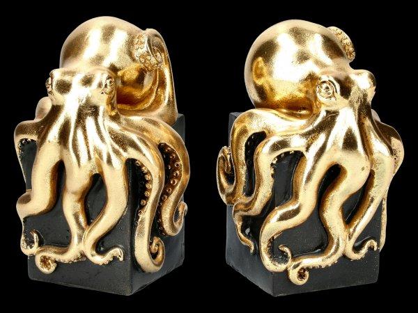 Buchstützen Kraken - goldfarben