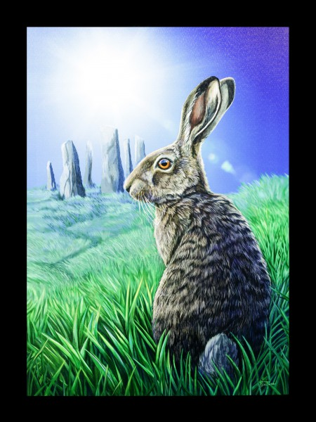 Large Canvas with Hare - Solstice