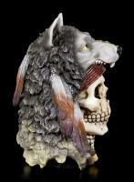 Totenkopf Medizinmann mit Wolfsmütze - Wolf Spirit