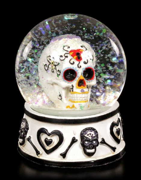 Snow Globe - Day of the Dead Skull - black